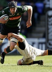 Nick Kennedy on the charge for Exiles