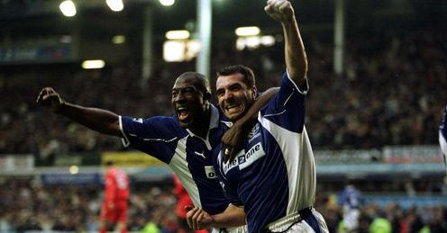 David Unsworth, right, celebrates against Liverpool in 2001