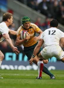 Matt Giteau goes up against England s defence at Twickenham