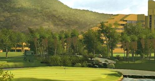 Sun City&#39;s most famous hole - the 9th at Gary Player CC
