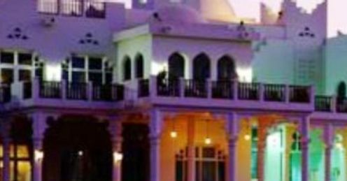The striking Doha clubhouse at night