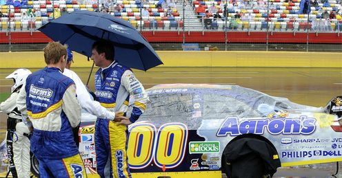 Reutimann: in the rain before the race finally got underway