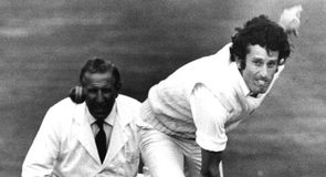No slouch: John Snow sends down a missile in the 1975 Ashes