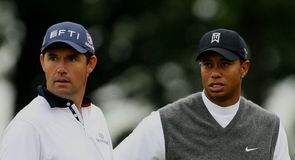 A startled Padraig Harrington and Tiger Woods