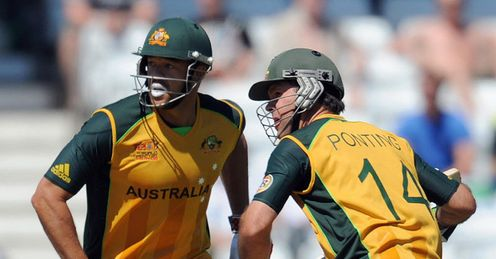 Collision course: Ricky Ponting (right) says Symonds' absence will upset the side's balance