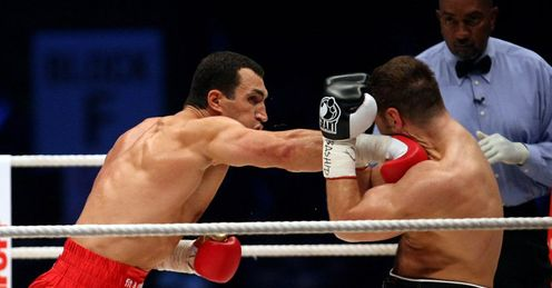 Dishing it out: Klitschko showed against Chagaev he can do more than just defend