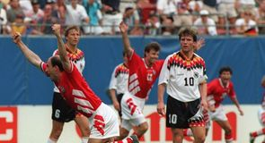 Bulgaria celebrate the winner - an unforgettable header from Letchkov, just moments after Stoichkov had levelled