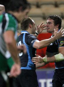 Glasgow v Connacht Thom Evans right celeb