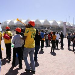 Fans gather outside the Nelson Mandela Bay Stadium