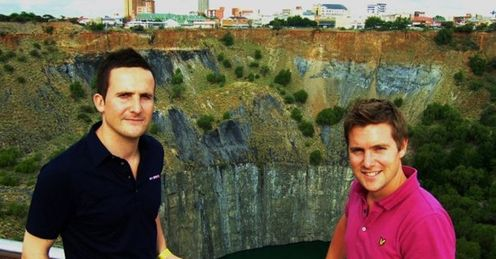 Holey moley: Adam and Jamie admire the view