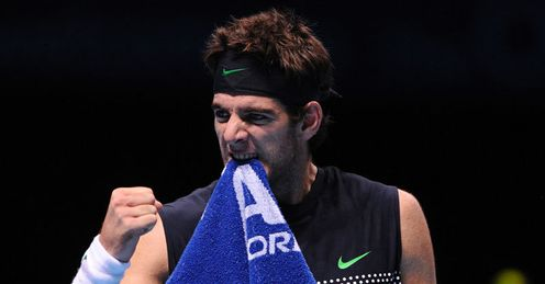 Tooth will out: Del Potro celebrates after his semi-final spot is confirmed