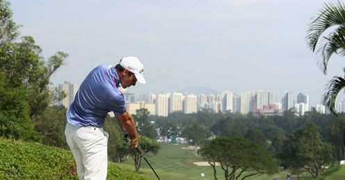 Oliver Wilson plays from the 3rd tee at Hong Kong Golf Club
