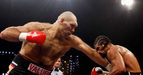 Giant step: Haye has already toppled the biggest of the lot, Nikolai Valuev