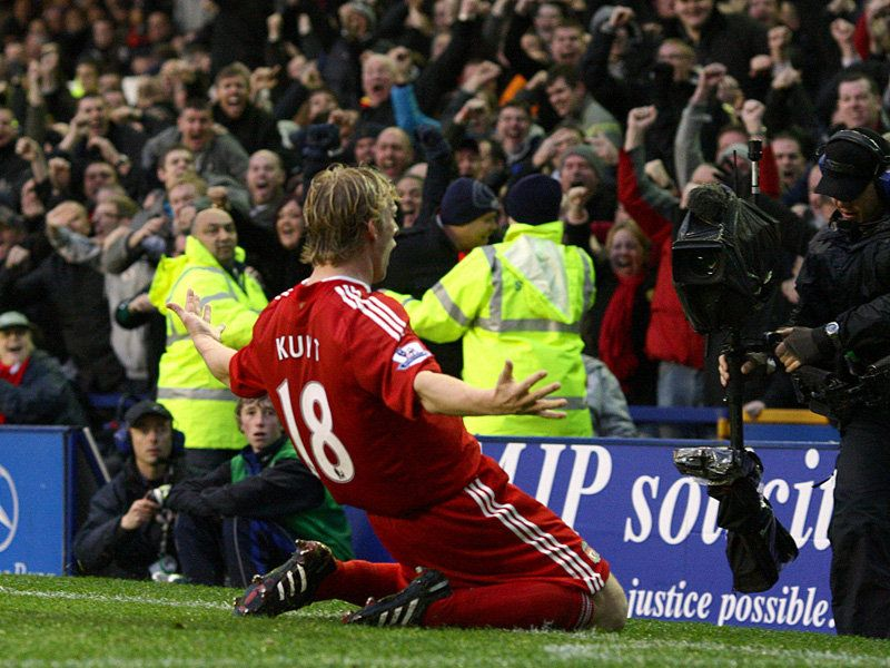 Dirk Kuyt celebrating one of his five goals against the Blue Noses