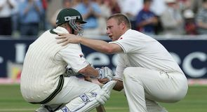 Andrew Flintoff and Brett Lee share one of the best Ashes moments