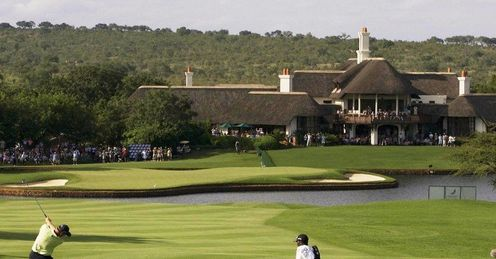 The charming Leopard Creek clubhouse fronted by the 18th green