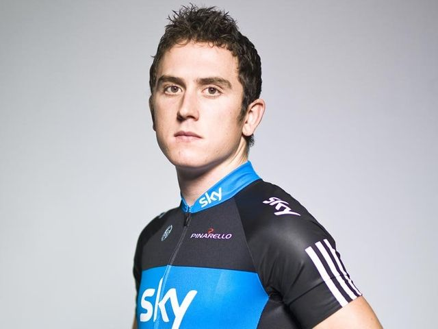 The 30-year old son of father (?) and mother(?), 183 cm tall Geraint Thomas in 2017 photo