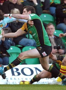 Phil Dowson gets to grips with Joffrey Michel