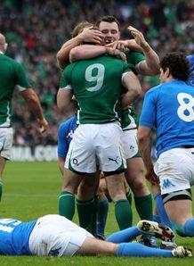 Ireland v Italy Tomas O Leary celeb