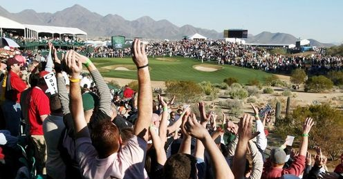 This picture taken at the FBR Open in 2008 gives you a good idea of the crowds that annually pack around the 16h hole at the Stadium Course