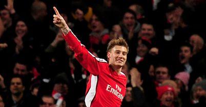 Nicklas Bendtner celeb Arsenal v Porto 2010