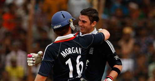Job gone: Morgan congratulates Kieswetter on his ton but greater Tests await both