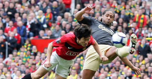 Park Ji Sung stoops to score Manchester United's winner against Liverpool