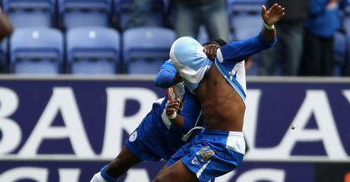 N'Zogbia: The Wigan star celebrates his dramatic winner