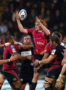 Paul Tito reaching against Wasps