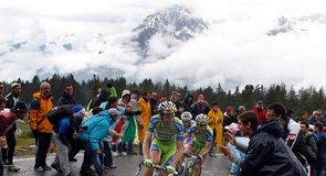 Ivan Basso, Vincenzo Nibali and Michele Scarponi make the decisive move