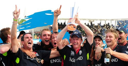 Crowning achievement: a jubilant Collingwood lifts England's first ICC World trophy