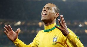 Brazilian striker Luis Fabiano celebrates scoring the opening goal against the Elephants in Johannesburg