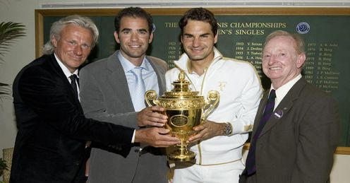 Cast of greats: Bjorn Borg, Sampras and Rod Laver join Federer after the 2009 final
