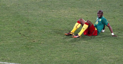 Flat out: It's been a miserable tournament for Cameroon and other African nations