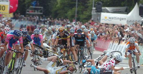 Cavendish: crashed at full speed just yards from the line ...