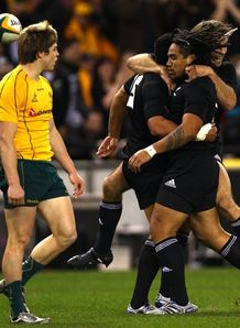 Mils Muliaina celebrates score against Australia