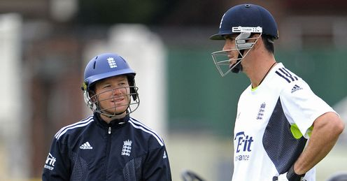 Train of thought: Morgan and Pietersen share ideas during nets at Trent Bridge