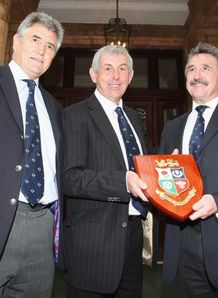 Andy Irvine with Ian McGeechan and Gerald Davies