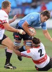 Flip van der Merwe brought down by Lions