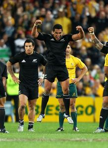 Mils Muliaina jumps for joy