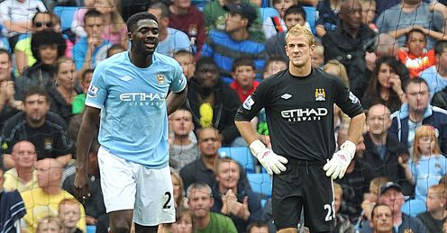 Kolo Toure Joe Hart Manchester City Premier League