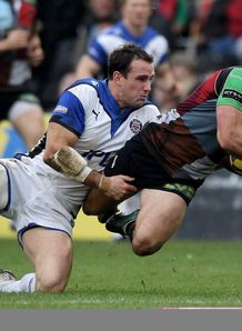 Matt Carraro tackles George Lowe Harlequins v Bath