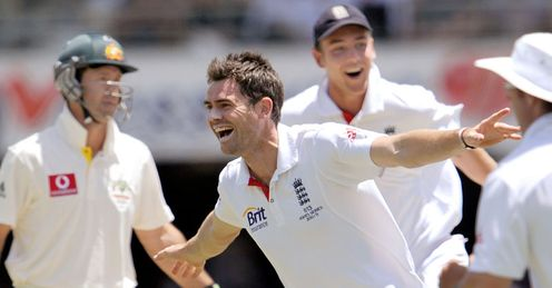 Span-tastic: Anderson celebrates after claiming Ricky Ponting's scalp in the Brisbane Test