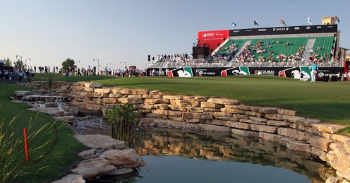 The 18th green at Jumeirah.