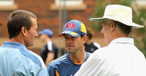Grim and bear it: Andrew Hilditch (l) and Greg Chappell (r) offer Ponting some advice