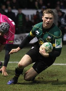 Chris Ashton scoring against Cardiff Blues for Northampton