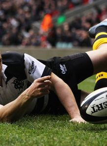 Drew Mitchell slides over for Barbarians against South Africa