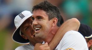 Golden arm: Swann embraces Pietersen after Clarke's downfall late on day four in Adelaide