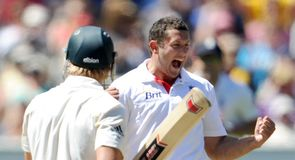 Wat a delivery: Bresnan celebrates after dismissing Shane Watson lbw for 54