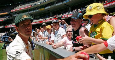 Ball guy: Ponting hands out gifts after Australia fail to prevent England from retaining the Ashes